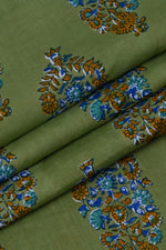 Green Flower Printed Cotton Fabric