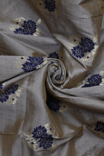Grey Floral Banarsi Silk Fabric