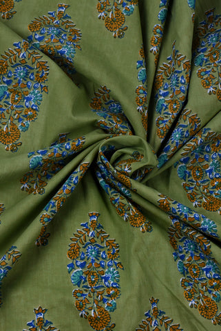 Olive Green Paisley Print Cotton Screen Printed Fabric