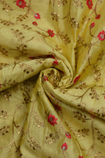 Yellow Flower Chandari Silk Fabric