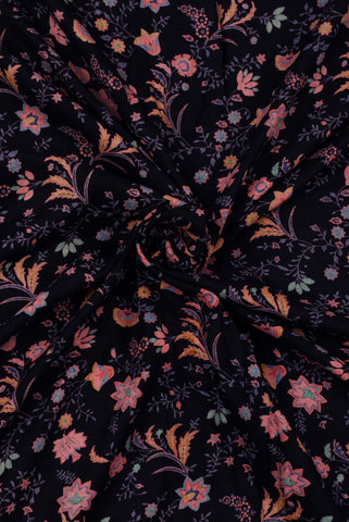 Black Flower Print Cotton Screen Printed Fabric