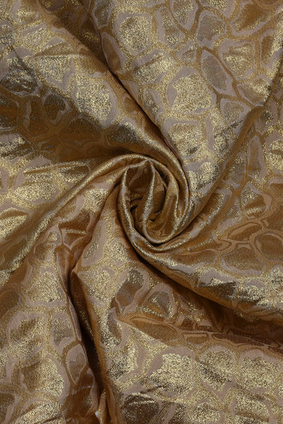 Golden Print Jacquard Silk Fabric