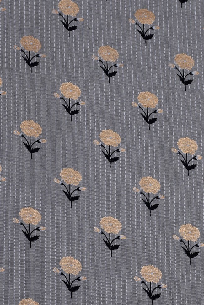 Grey Flower Printed Screen Cotton Print Fabric