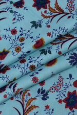 Sky Blue Floral Printed Cotton Fabric