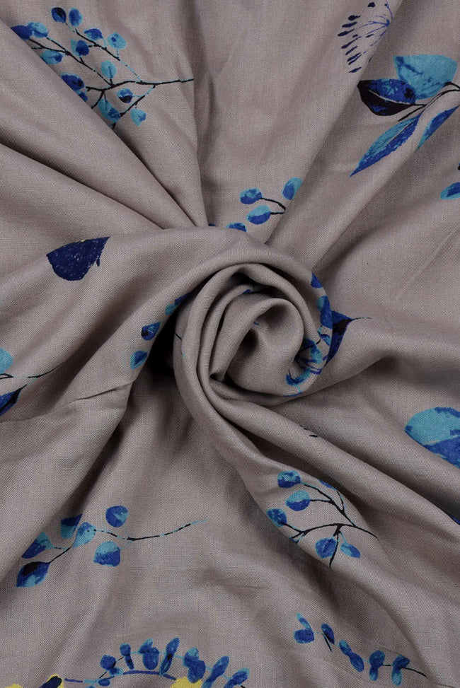 Grey Floral Printed Cotton Fabric