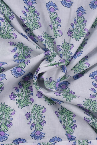 White Floral Print Mughal Cotton Fabric