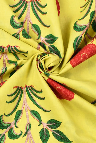 Yellow Plant Printed Mughal Cotton Fabric