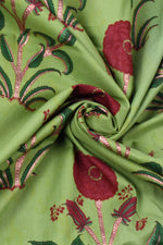 Greeb Flower Mughal Printed Cotton Fabric