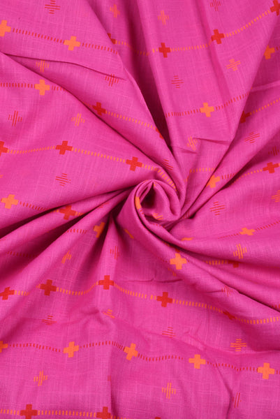 Pink Stripes Printed Rayon Fabric