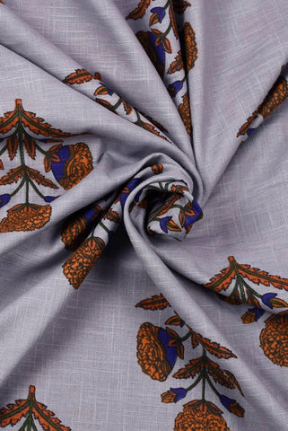 Grey  Plant Printed Mughal Cotton Fabric