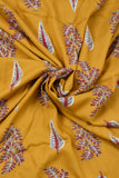 Yellow Leaf Printed Rayon Fabric