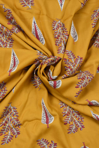 Yellow Leaf Printed Cotton Screen Fabric