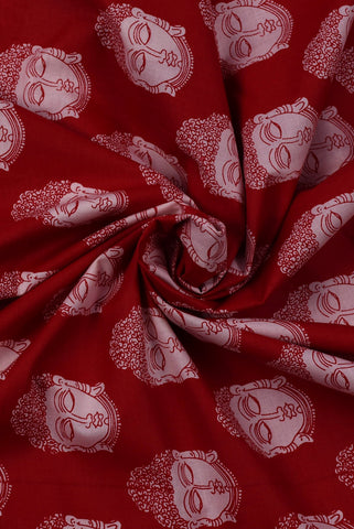 Red Buddha Printed Cotton Screen Fabric