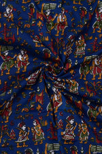 Dark Blue Object Print Cotton Fabric