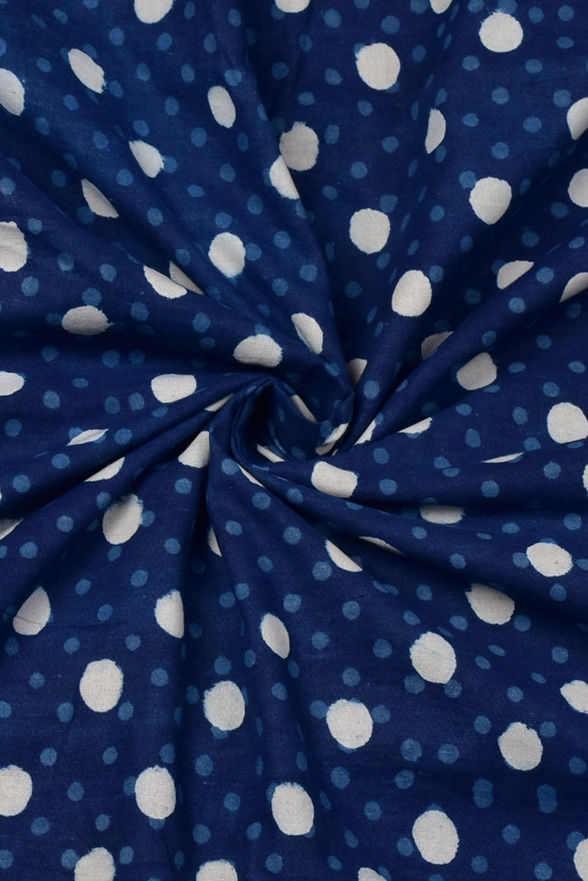 Blue Polka Dots Print Cotton Fabric