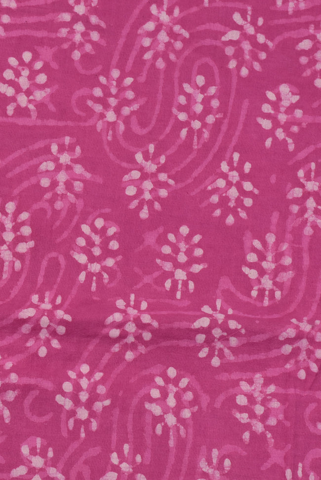Pink Flower Print Cotton Fabric