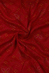 Red Flower Print Rayon Fabric