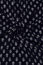 Dark Blue Flower Print Rayon Fabric