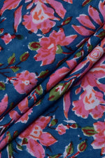 Blue Flower Print Cotton Fabric