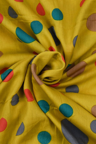 Yellow Circle Printed Cotton Screen Fabric