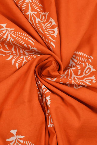 Orange Floral Printed Cotton Screen Fabric