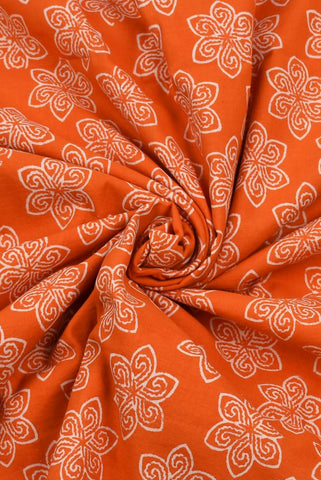 Orange Flower Printed Cotton Screen Fabric
