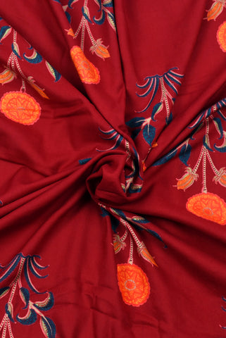 Maroon Plant Printed Mughal Cotton Fabric