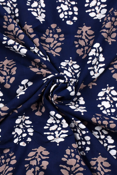 Navy Blue Flower Printed Rayon Fabric