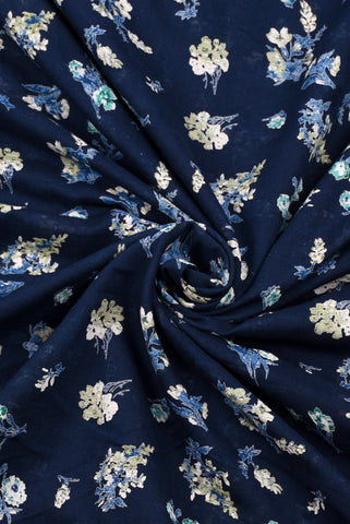 Navy Blue Floral Printed Cotton Fabric