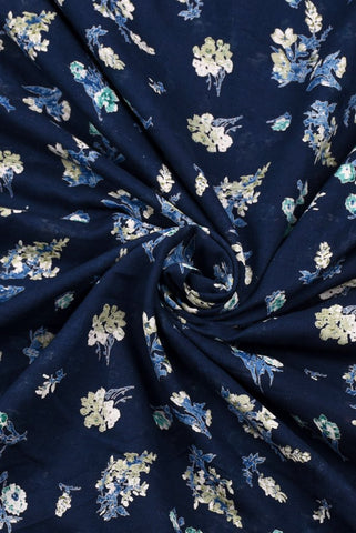 Blue Floral Printed Cotton Screen Fabric