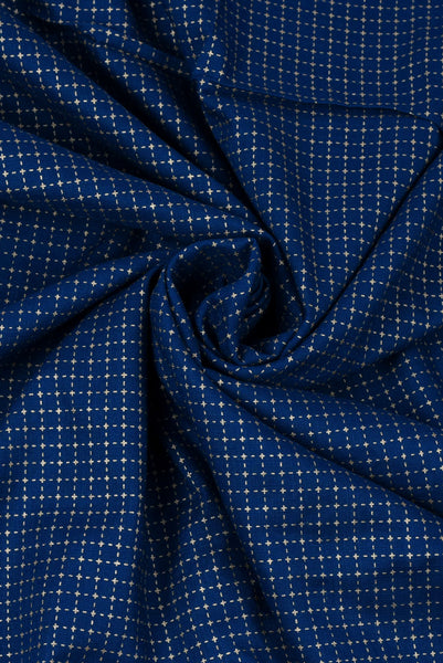 Navy Blue Stripes Cotton Fabric