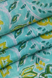 Sky Blue Flower Printed Cotton Fabric