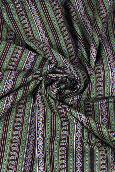 Green Stripes Printed Cotton Fabric