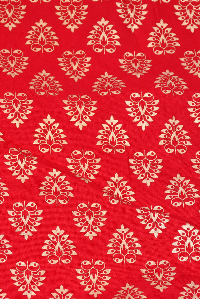 Red Leaf Printed Cotton Fabric