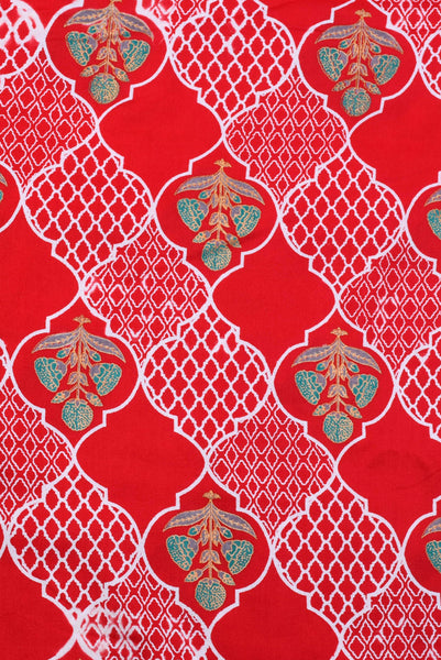 Red Flower Printed Cotton Fabric