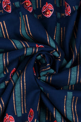 Navy Blue Stripes Printed Rayon Fabric