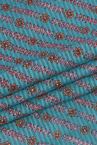 Sky Blue Leaf Flower Printed Cotton Fabric
