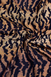 Dark Brown Animal Print Muslin Fabric