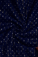 Dark Blue Polka Dots Print Cotton Lurex Fabric