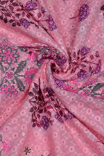 Pink Flower Print Lucknowi Work Fabric