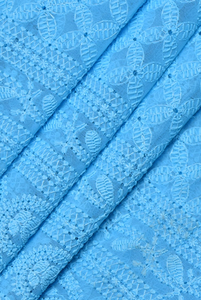 Blue Kashida Work Lucknowi Chikan Fabric