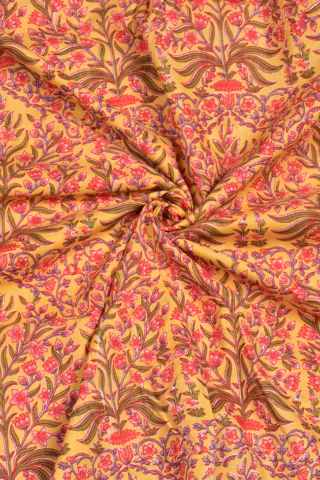 Light Yellow Flower Print Cotton Fabric