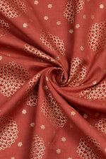 Gold Flower Print Rayon Fabric