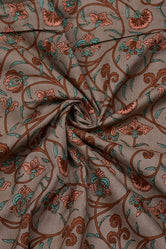 Brown Flower Print Rayon Fabric