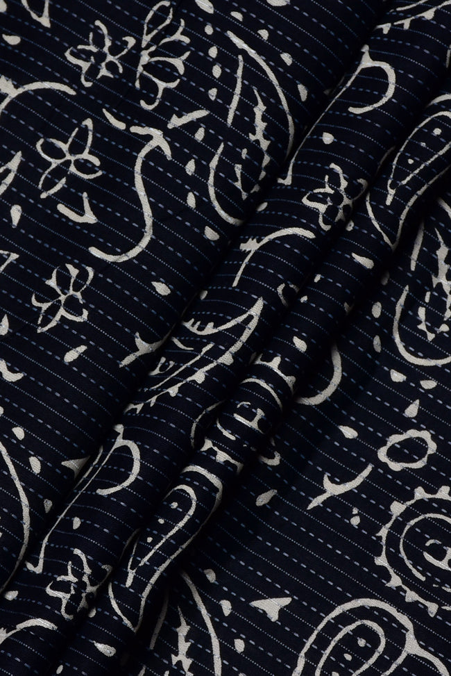Dark Black Butta Print Kantha Cotton Fabric