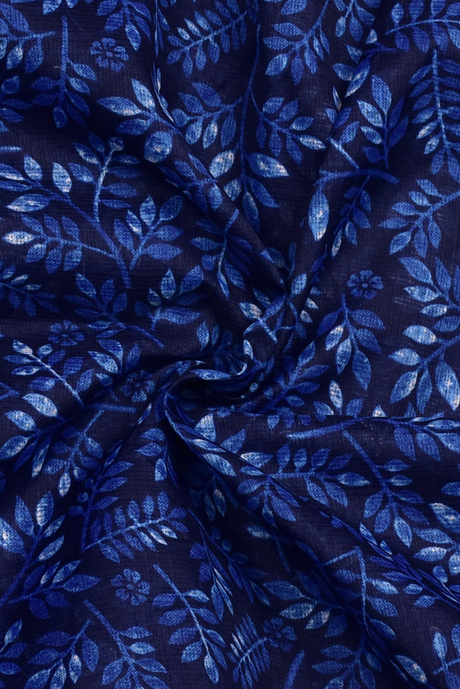 Blue Leaf Print Kota Doria Fabric
