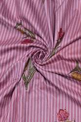 Pink Stripes Flower Print Rayon Fabric