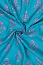 See Blue Flower Print Rayon Fabric