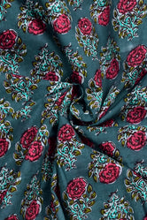 Green Flower Print Cotton Fabric