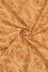 Cream Bhandej Print Cotton Fabric